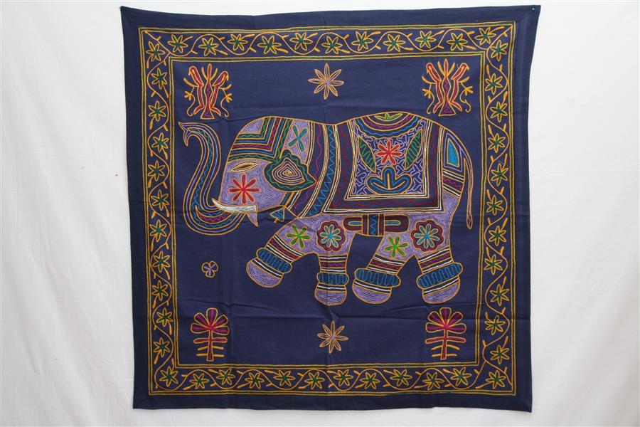 bestickter wandteppich elefant rajastan indien wandbehang orient tischdecke ebay. Black Bedroom Furniture Sets. Home Design Ideas