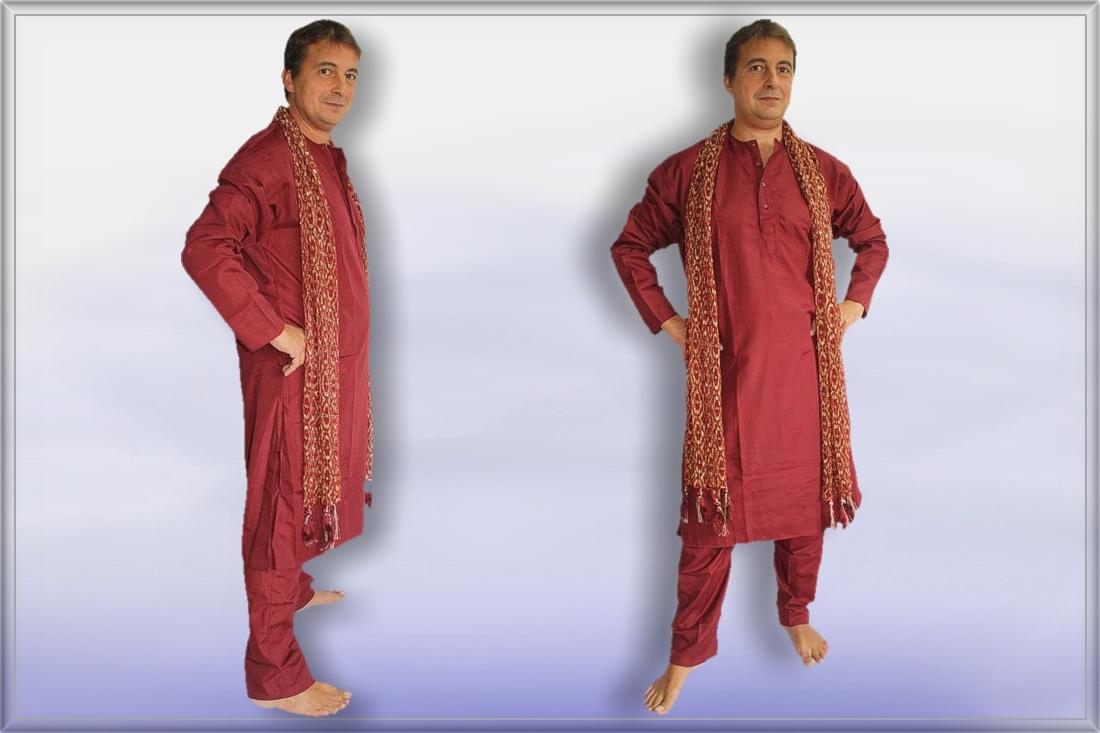 sherwani kurta herren anzug bordeaux gr l indien bollywood meditation ebay. Black Bedroom Furniture Sets. Home Design Ideas