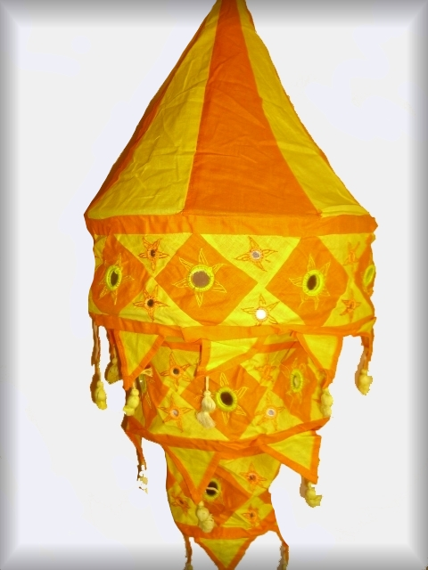 xxl lampe h ngelampe stofflampe indien lampion gelb orange 3 stufig goa hippie ebay. Black Bedroom Furniture Sets. Home Design Ideas