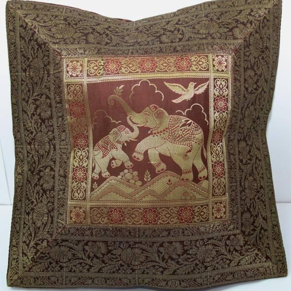 kissen pr chtige indien kissenh lle dekokissen brokat mit elefanten orient gold. Black Bedroom Furniture Sets. Home Design Ideas