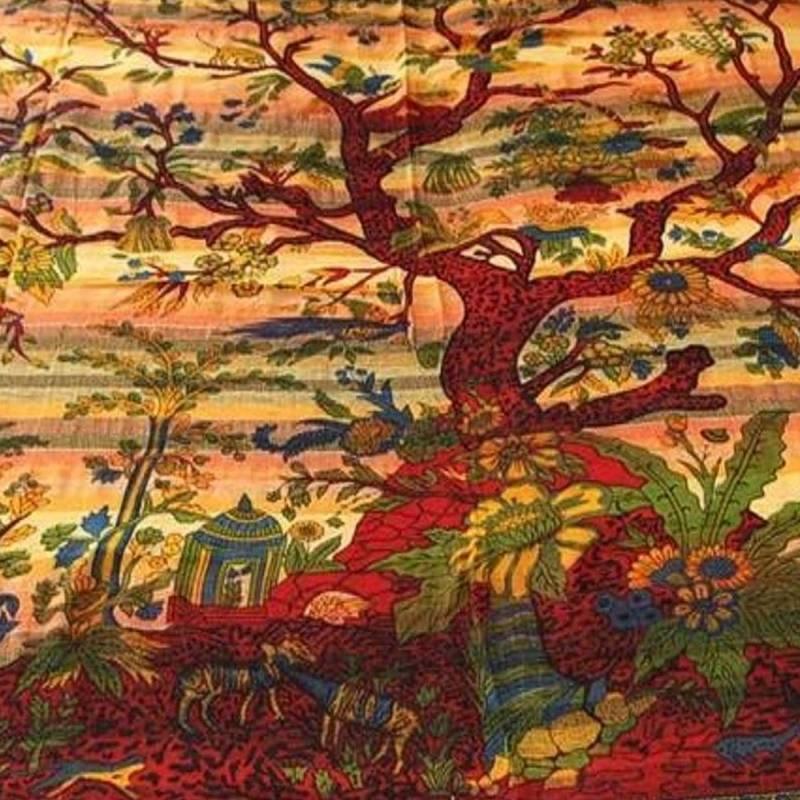 Couvre lit arbre de vie tapisserie d coration murale tissu d co l 39 arbre de vie - Arbre de vie decoration murale ...