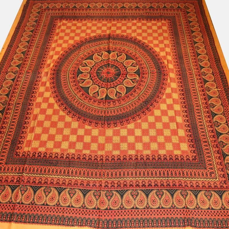 couvre lit rajasthan classic couvre lit inde tissu d co orange 10 ebay. Black Bedroom Furniture Sets. Home Design Ideas