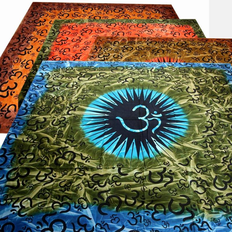 tie dye bedspread om harmony batik dekotuch india buddha. Black Bedroom Furniture Sets. Home Design Ideas