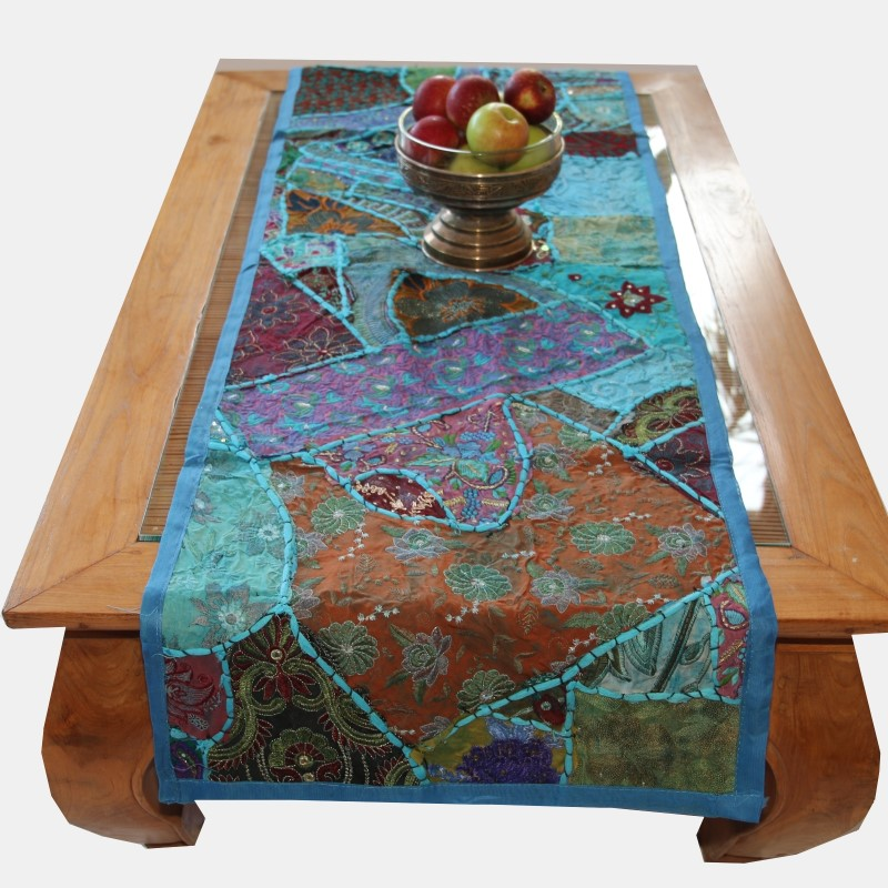 chemins de table oriental inde nappe patchwork tapisserie d coration murale ebay. Black Bedroom Furniture Sets. Home Design Ideas