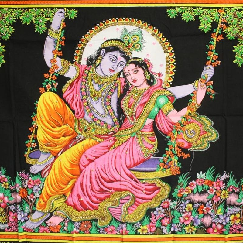 Wall hanging radha krishna swing india bollywood mural for Mural radha krishna